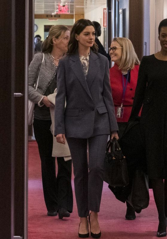 Anne Hathaway - Meets the United Nations Secretary General in New York 03/12/2019