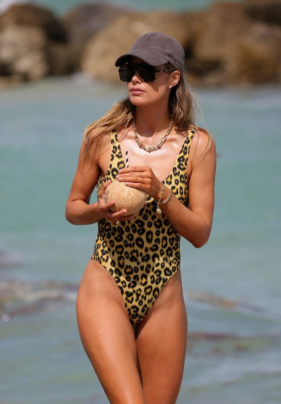 Doutzen Kroes in a Cheeky Leopard Print Swimsuit 03/29/2019