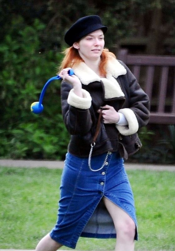 Eleanor Tomlinson Playing With Her Dog 03/29/2019