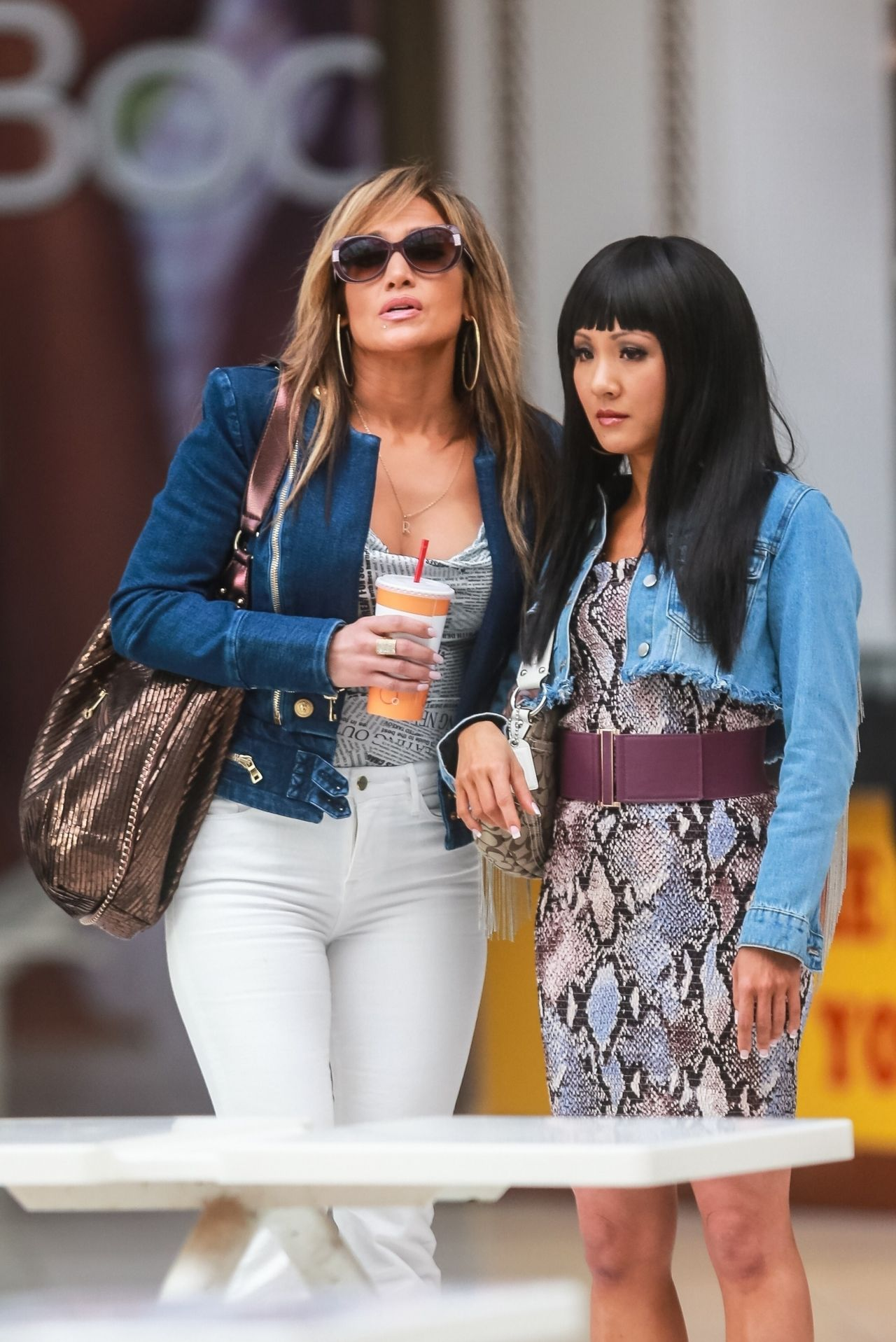 """Jennifer Lopez and Constance Wu on the Set of """"Hustlers"""" 03/26/2019"""
