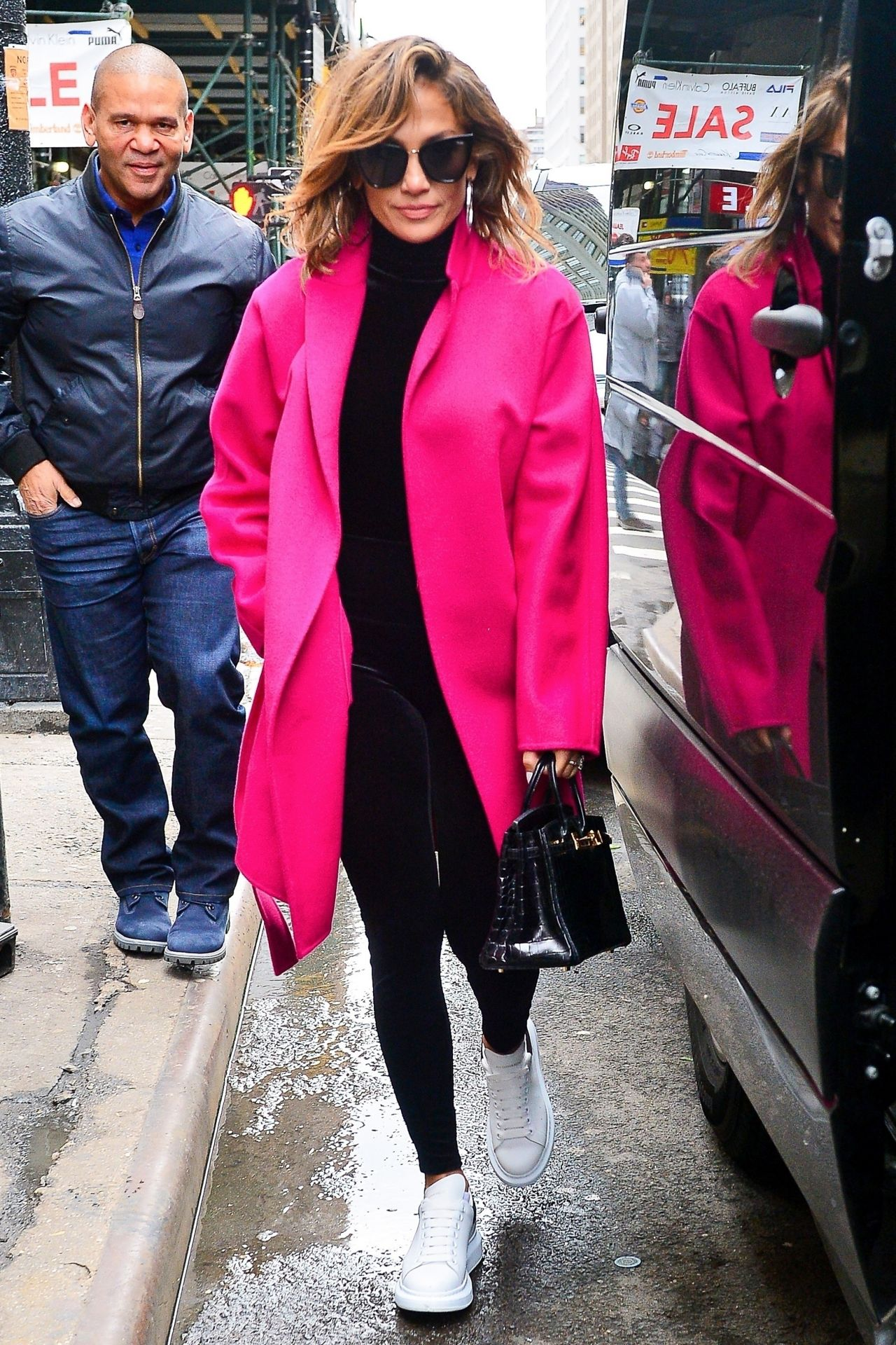 Jennifer Lopez in a Pink Coat and Leggings - Out in NYC 03