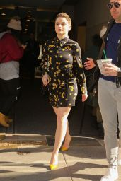 Joey King in Mini Dress Out in NYC 03/14/2019