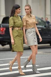 Josephine Skriver and Adriana Lima - Shooting a Maybelline Commercial in NYC 03/22/2019