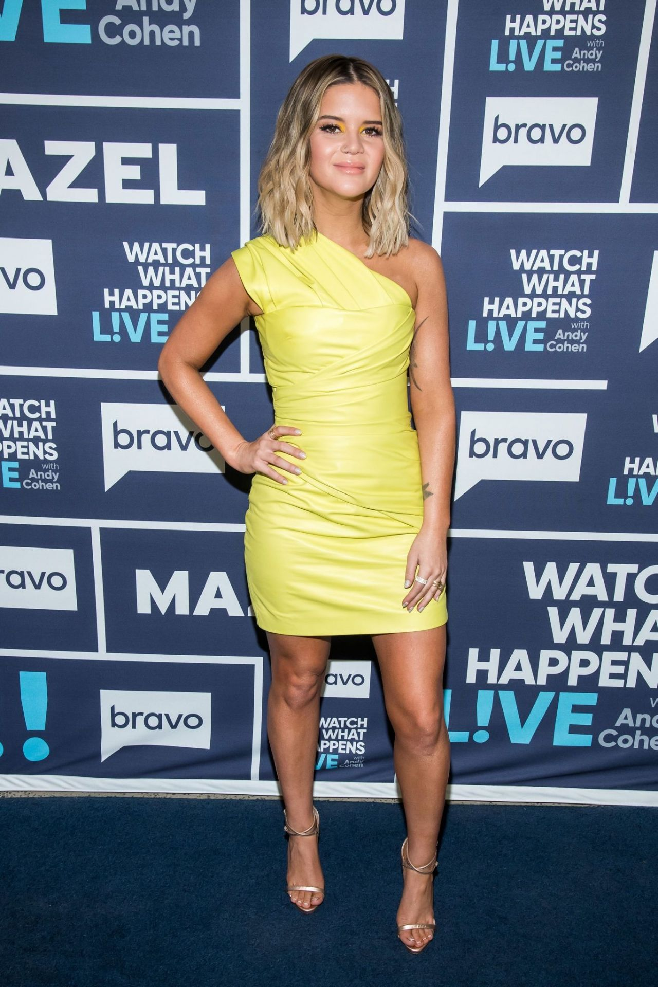 Maren Morris stunning and super sexy on Watch What Happens Live in tight yellow dress