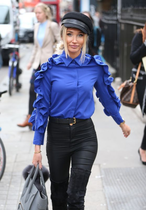 Megan McKenna in Electric Blue Silk Shirt 03/05/2019