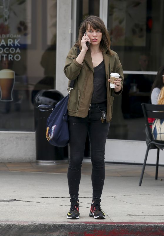 Milla Jovovich - Out for Coffee in LA 03/19/2019
