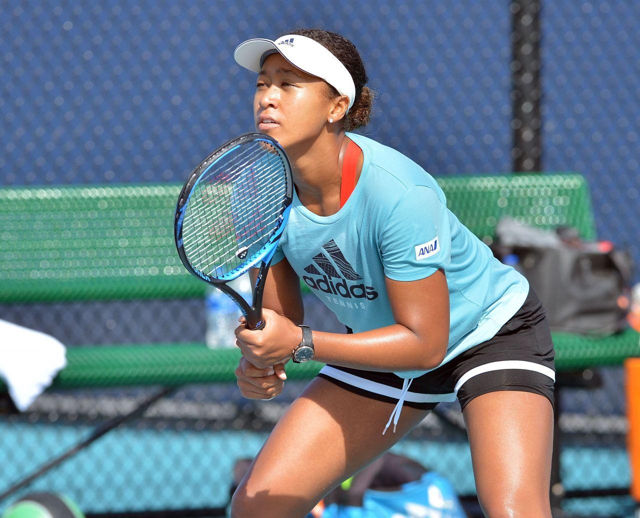 Naomi Osaka - Practises During the Miami Open Tennis ...