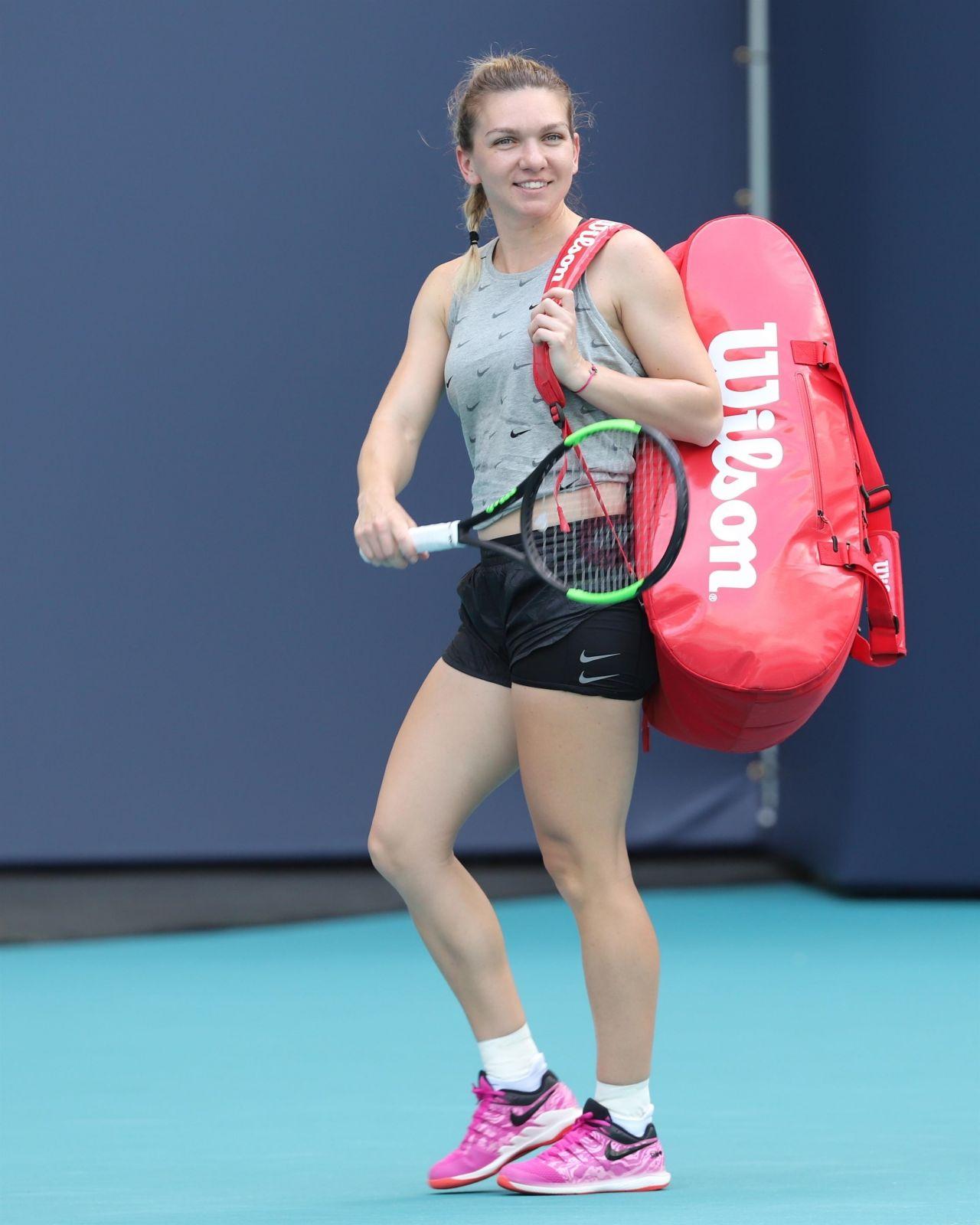 Simona Halep – Practice Prior to the Start of the Miami ...