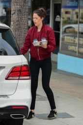 Amanda Crew in Tights - Stops for Coffee in Studio City 04/26/2019