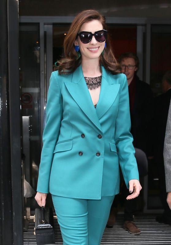 Anne Hathaway - Leaving BBC Radio 6 in London 07/17/2019