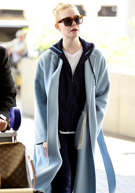Elle Fanning in Travel Outfit - LAX in LA 04/22/2019