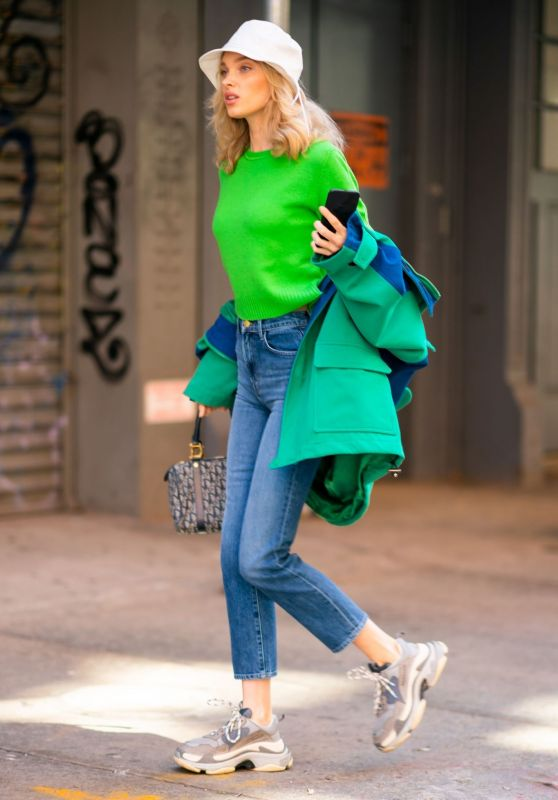 Elsa Hosk in Bright Green Sweater and Faded Denim 04/24/2019
