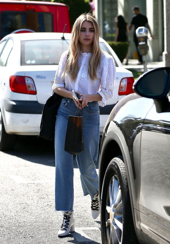 Emma Roberts Gets Her Hair Done at Nine Zero One in West Hollywood 04/24/2019