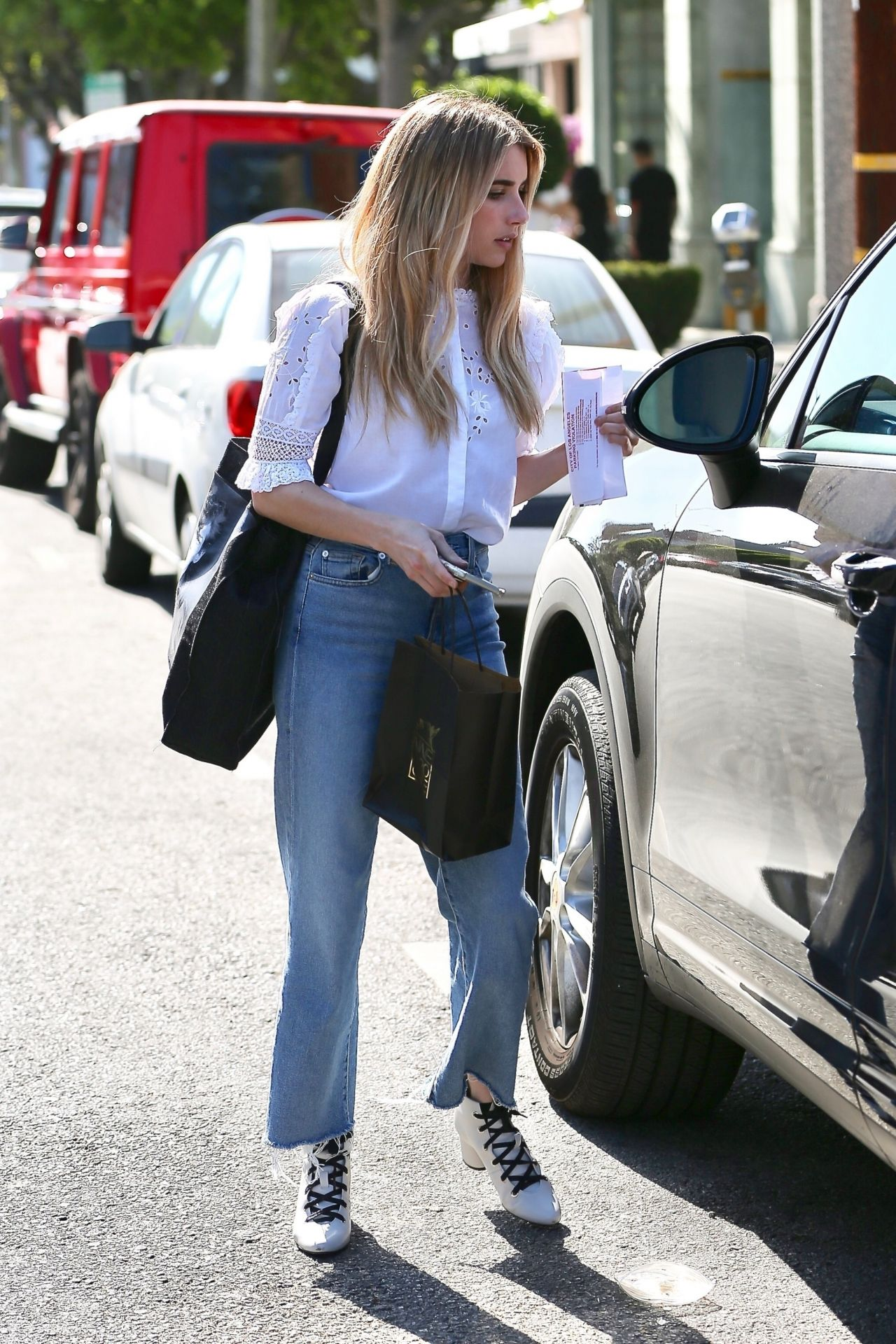 Emma Roberts Gets Her Hair Done At Nine Zero One In West
