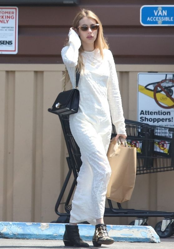 Emma Roberts in a White Maxi Dress - LA 04/26/2019