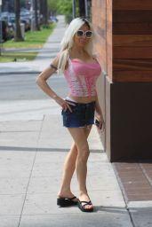 Frenchy Morgan in Denim Mini Skirt - Beverly Hills 04/15/2019