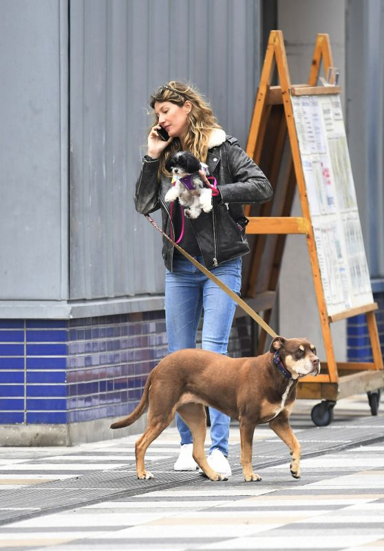 Gisele Bündchen With Her Dogs - Out in NYC 04/14/2019