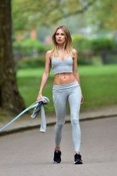 Kimberley Garner in Form Fitting Crop Top and Leggings 04/24/2019