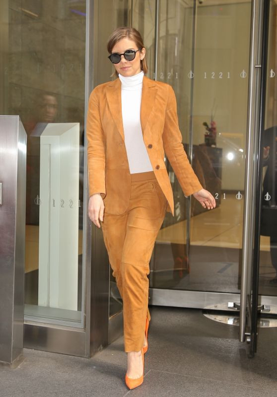 Lauren Cohan in a Orange Outfit in NYC 04/04/2019