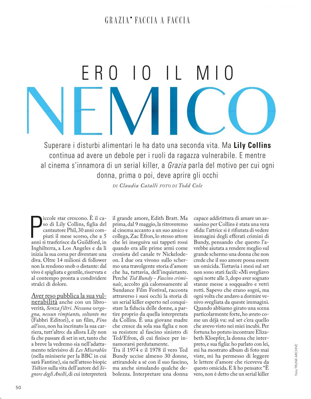 Lily Collins - Grazia Magazine Italia April 2019 Issue