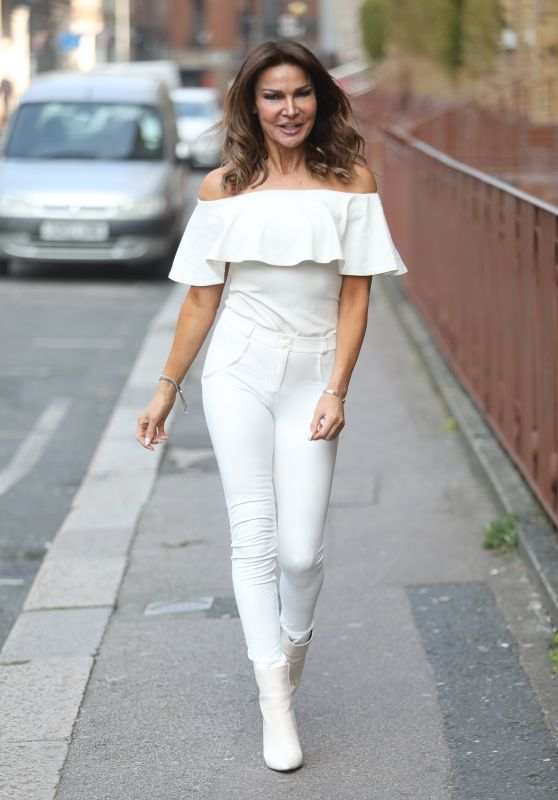 Lizzie Cundy in White at Talk Radio Show in London 03/30/2019