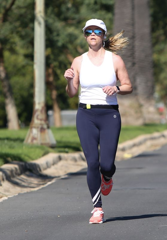 Reese Witherspoon - Jogging in Brentwood 03/31/2019