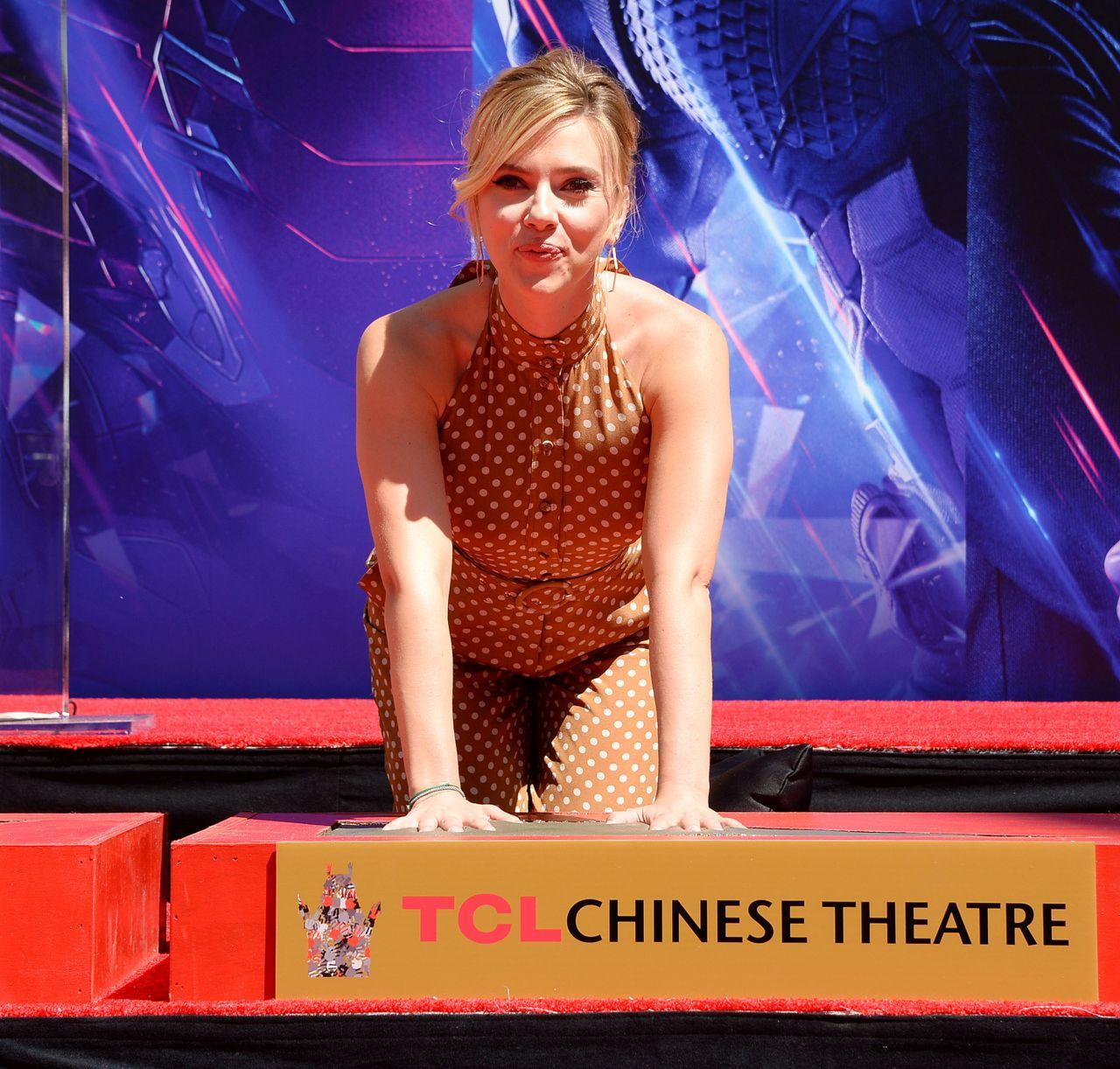 Scarlett Johansson Avengers Endgame Hand Print Ceremony In La