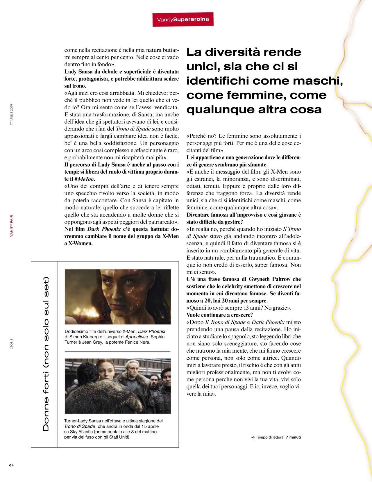 Sophie Turner - Vanity Fair Magazine Italy April 2019