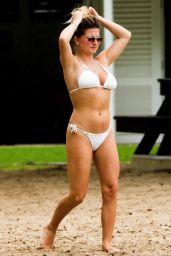Zara Holland in a White Bikini on the Beach in Barbados 04/15/2019