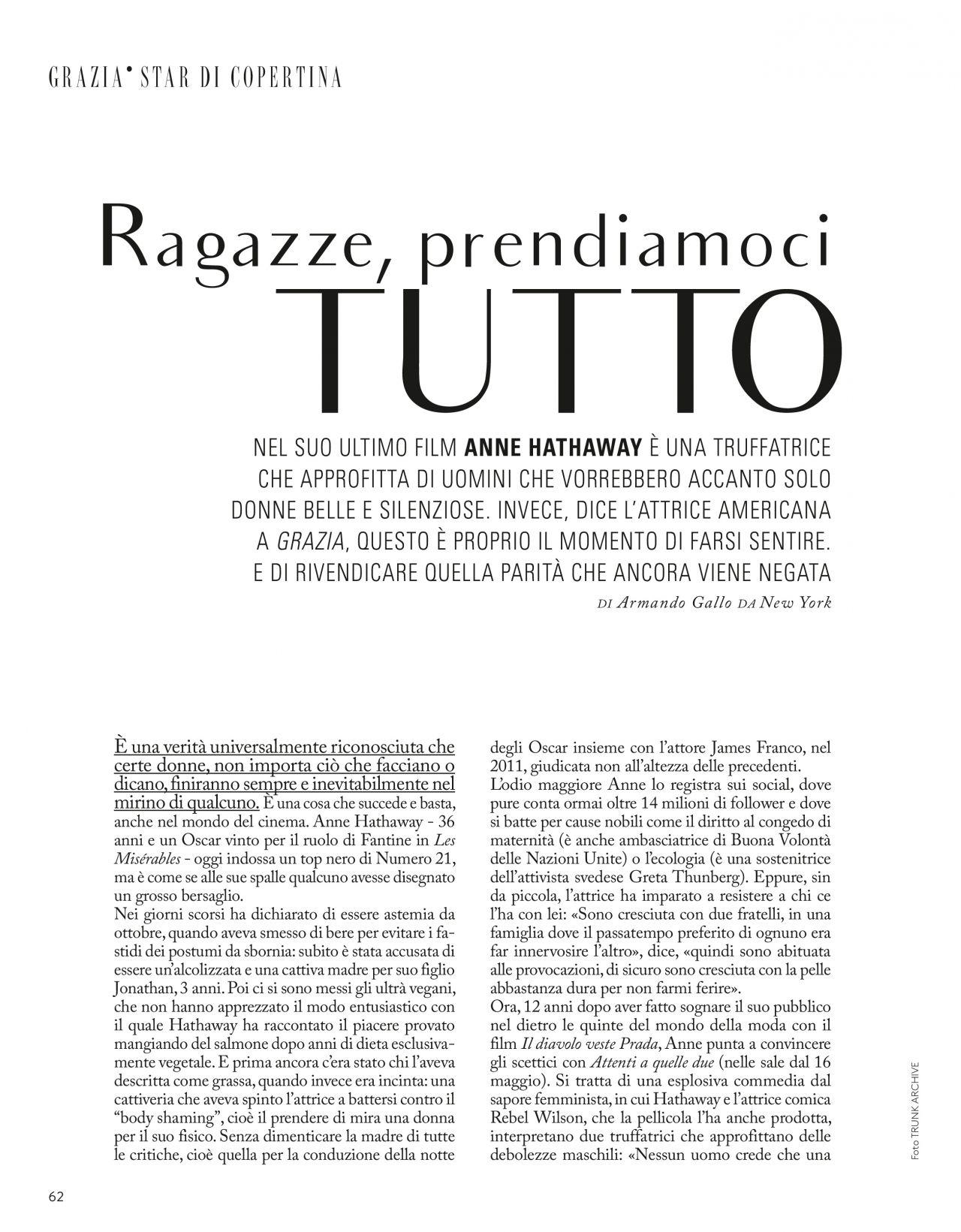 Anne Hathaway - Grazia Italy 05/09/2019