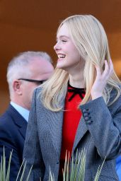 Elle Fanning on the Balcony of the Martinez Hotel Cannes 05/13/2019
