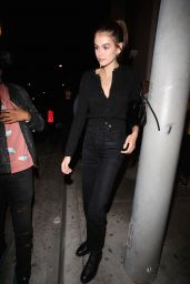 Kaia Gerber in All-Black for Dinner at Catch LA 05/22/2019