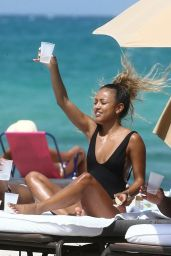 Karrueche Tran in Bikini - Beach in Miami 05/13/2019