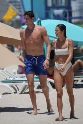 Kelsey Merritt and Conor Dwyer on the Beach in Miami 05/14/2019