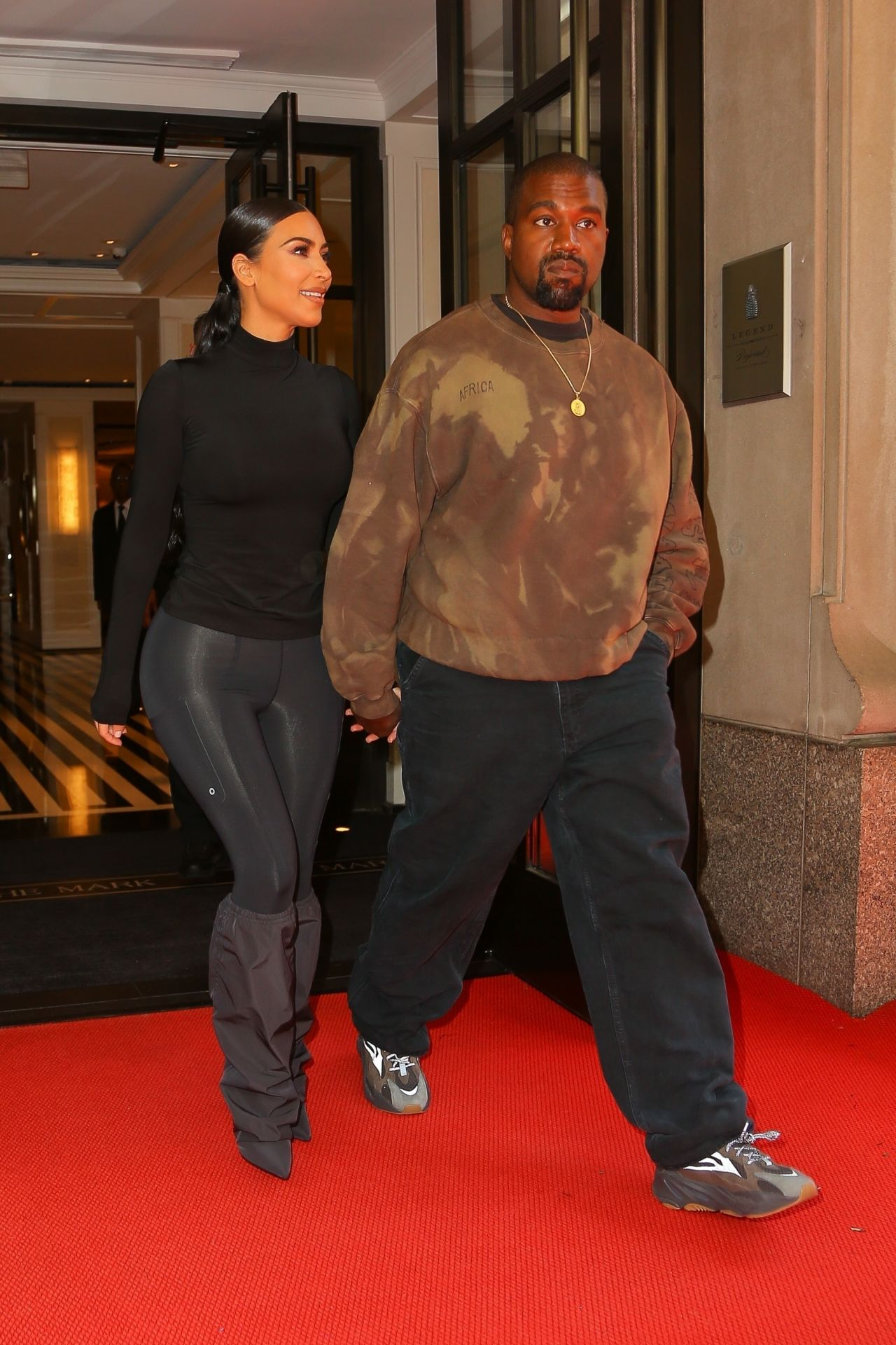 61a046516a46 Kim Kardashian and Kanye West - Exit Their Hotel in New York 05/07/2019