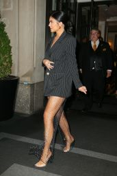 Kylie Jenner in a Smart Pinstripe Short Suit - NYC 05/03/2019