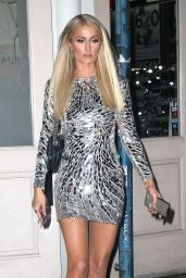 Paris Hilton in a Metallic Dress - Out in NYC 05/14/2019