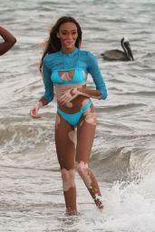 Winnie Harlow in a Blue Bikini at the Beach in Miami 05/12/2019