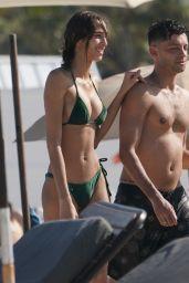 Yasmin Wijnaldum in a Green Bikini at the Beach in Miami Beach 05/11/2019