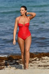 Zita Vass in a Red Swimsuit on Miami Beach 05/12/2019