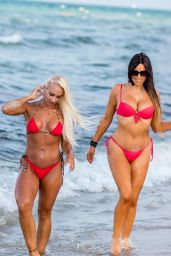 Claudi Romani and Daisy Jae in Bikinis on the Beach in South Beach 06/23/2019