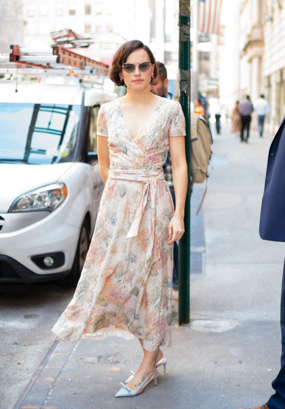 Daisy Ridley in a Floral Dress - New York City 06/26/2019