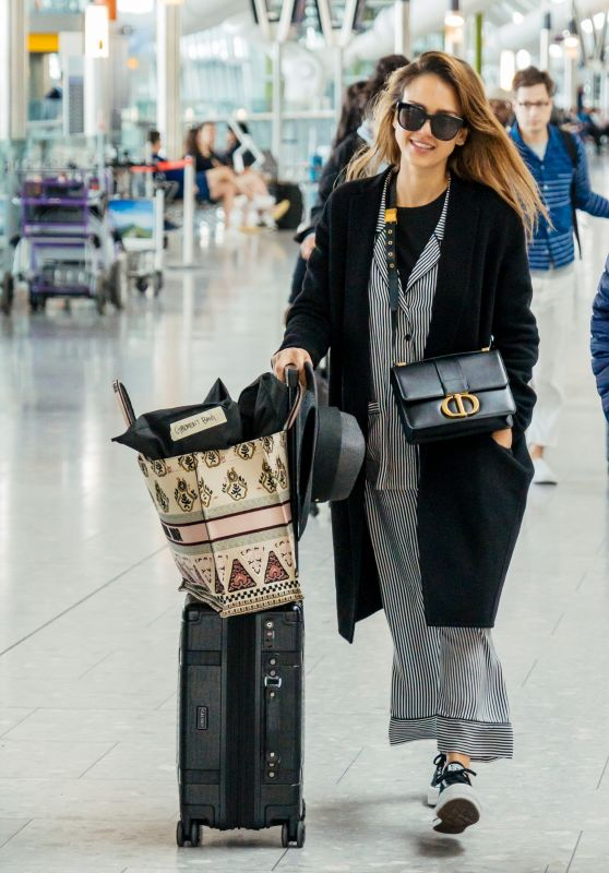 Jessica Alba in Travel Outfit - Heathrow Airport in London 06/14/2019