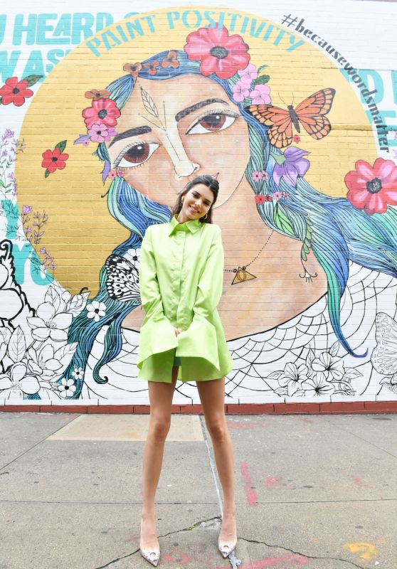 Kendall Jenner - Stops by the #PaintPositivity #BecauseWordsMatter Mural in NY 06/20/2019