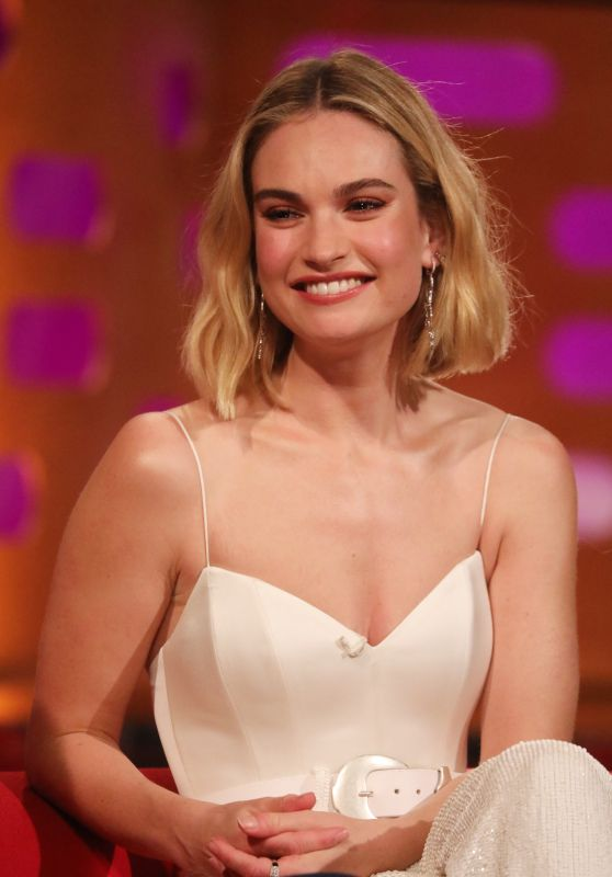 Lily James – Filming For the Graham Norton Show in London 06/13/2019