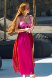 Lindsay Lohan in a Pink GUCCI Swimsuit on Mykonos Island 06/22/2019