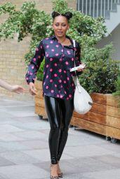 Melanie Brown in Polka Dot Silk Blouse - ITV Studios in London 06/26/2019