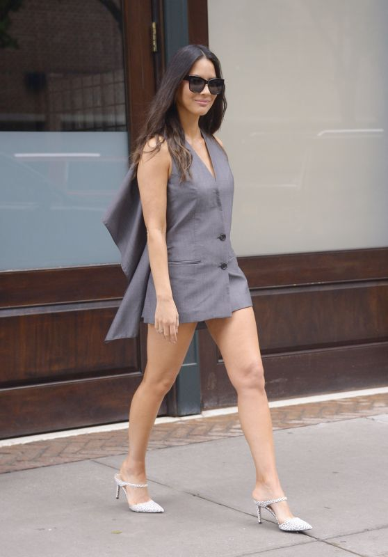 Olivia Munn Leggy in Mini Dress - Leaving Her Hotel in New York 06/24/2019