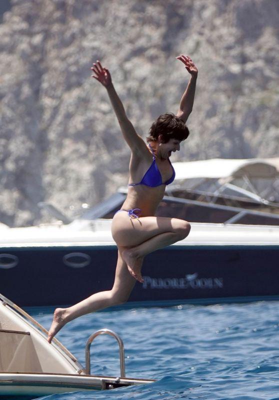 Ursula Corbero in a Blue Bikini on Holiday on the Island of Capri 06/14/2019.