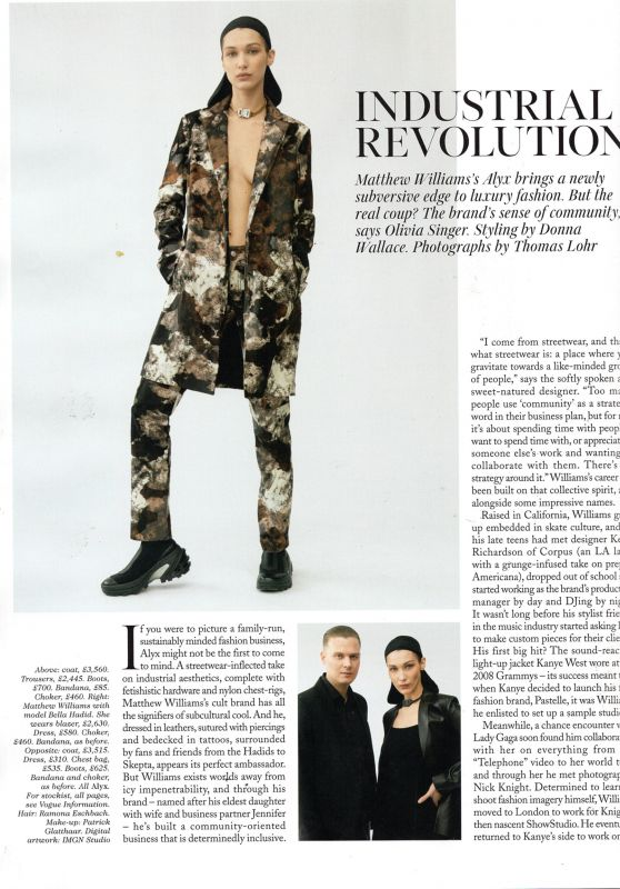 Bella Hadid - Vogue UK August 2019 Issue